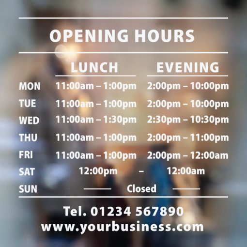 business hours sign two sets of times 3-01-window sticker decal
