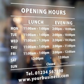 business hours signs two sets of times 3-window sticker decal