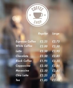coffee shop Price List sign 4-01-window sticker decal
