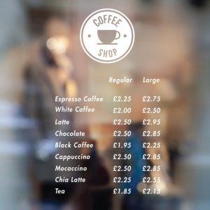 coffee shop Price List sign 4-01-window sticker decal