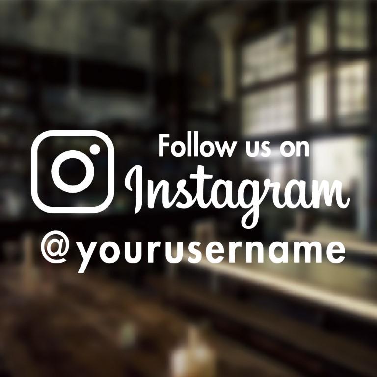 Follow Us On Instagram Sticker Custom Window Decal