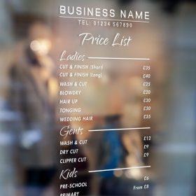 price list sign 2-window sticker decal