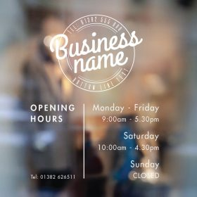 opening hours sign opening times sign for shop window sticker v14 open closed sign business hours personalised business window stickers personalised bespoke signage decals