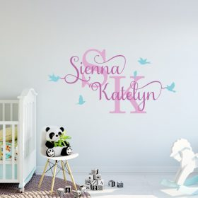Two Name Wall Sticker 12h Decal