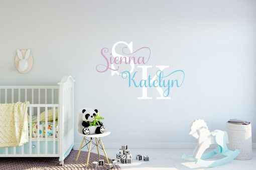 Two Name Wall Sticker 13h Decal