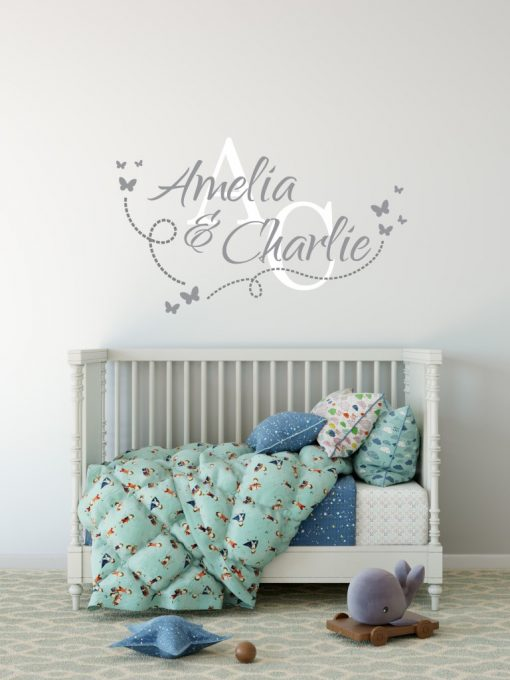 Two Name Wall Sticker 14f Decal