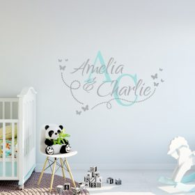Two Name Wall Sticker 14h Decal