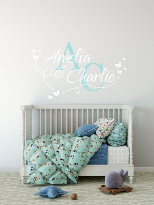 Two Name Wall Sticker 14j Decal