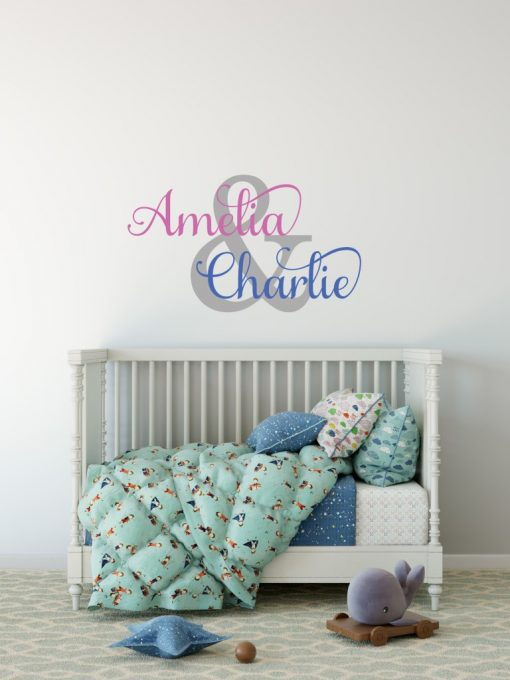 Two Name Wall Sticker 1h Decal
