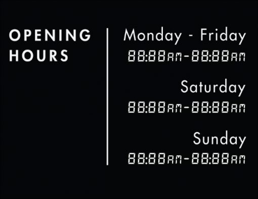 Printable Opening Times Sign v14
