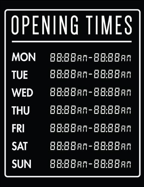 Printable Opening Times Sign v18