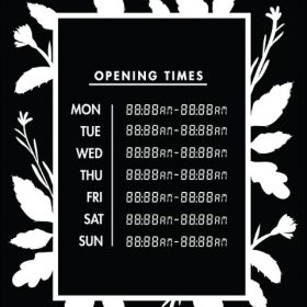 Printable Opening Times Sign v19