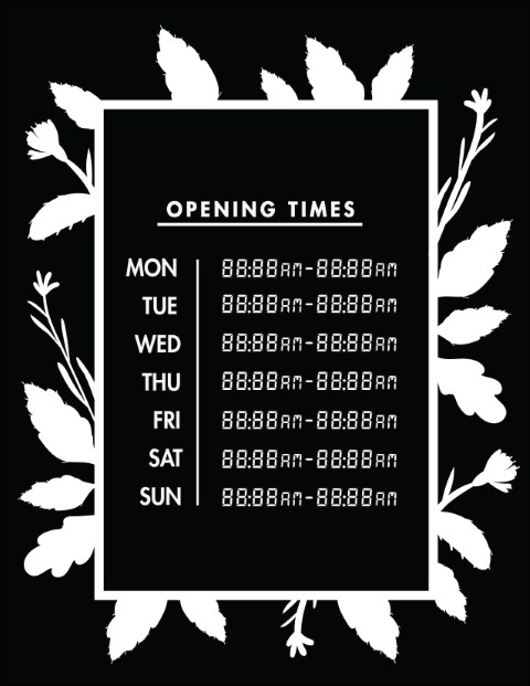 Printable Opening Times Sign v23