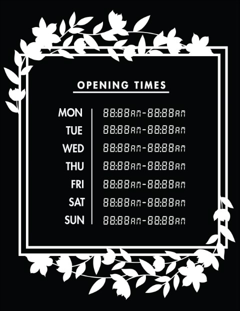 Printable Opening Times Sign v25