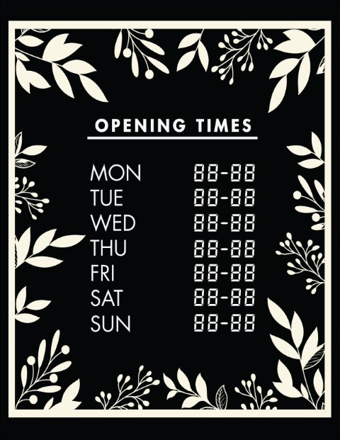Printable Opening Times Sign v27
