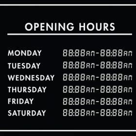 Printable Opening Times Sign v29
