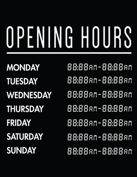 Printable Opening Times Sign v4