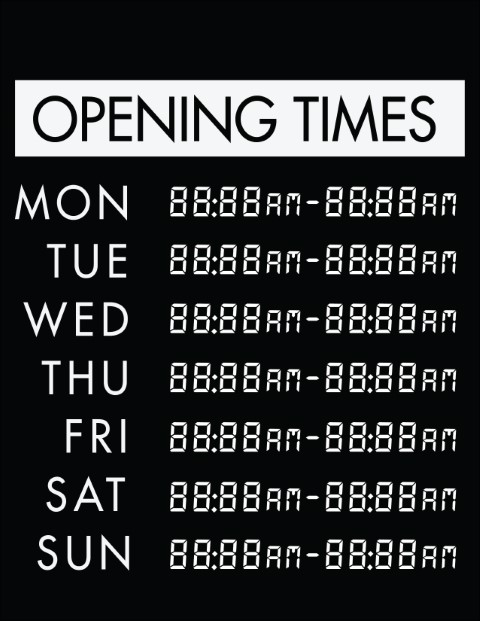 Printable Opening Times Sign v6