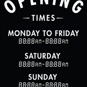 Printable Opening Times Sign v8